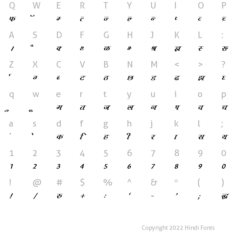 Character Map of Agra Bold Italic