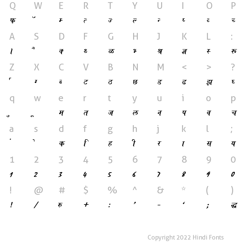 Character Map of Ajay Normal Bold Italic