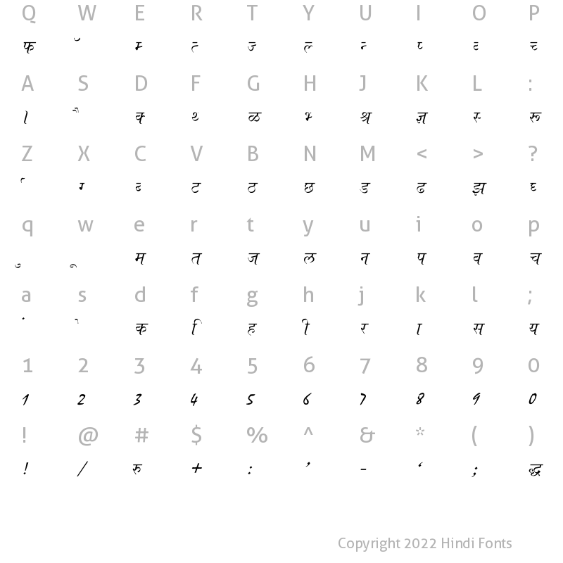 Character Map of Ajay Normal Italic
