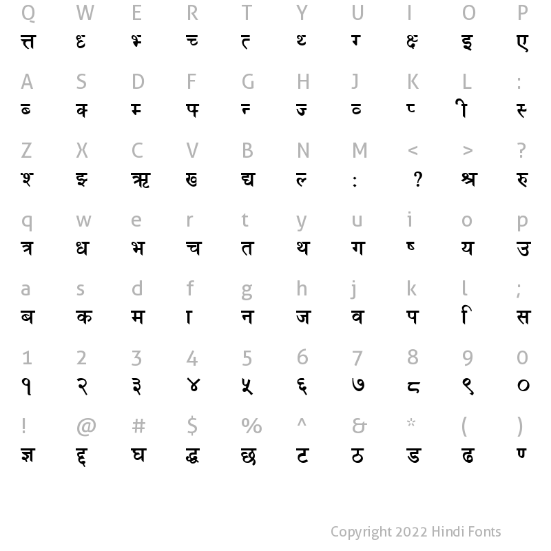 Character Map of Akshar Bold