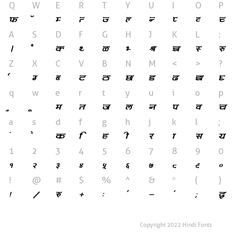 Character Map of Amit-Normal Bold Italic