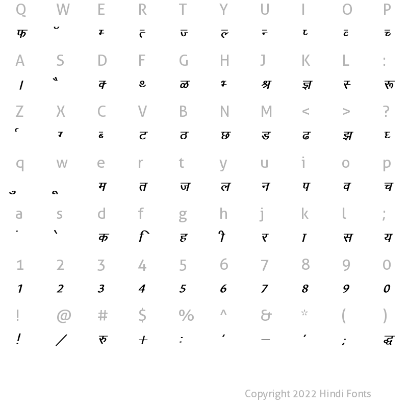 Character Map of Arjun Bold Italic