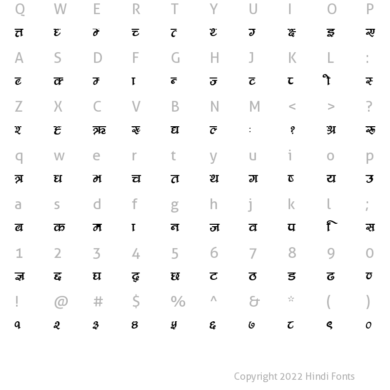 Character Map of CV Nepali Fancy Regular