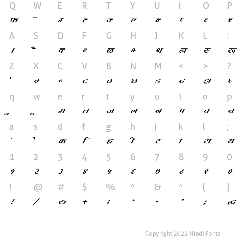 Character Map of DevLys 080 Italic