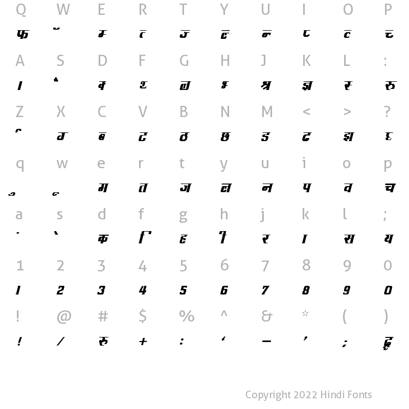 Character Map of DevLys 090 Bold Italic