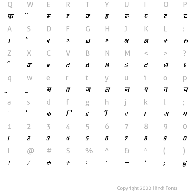 Character Map of DevLys 090 Italic