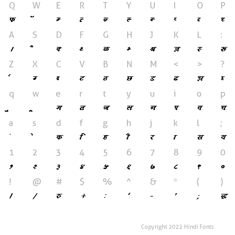 Character Map of DevLys 120 Bold Italic