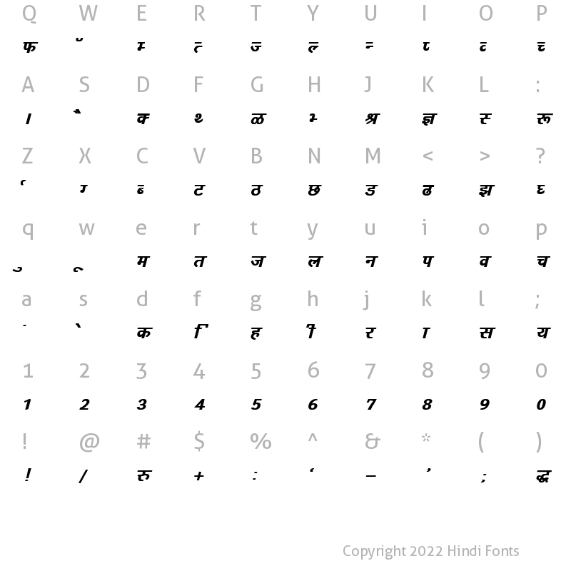 Character Map of DevLys 160 Bold Italic