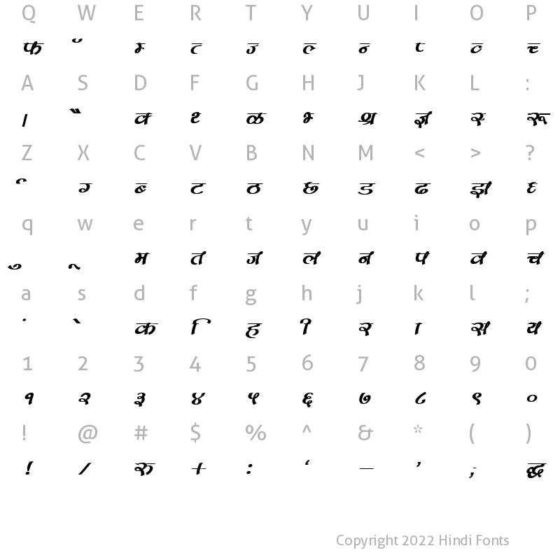 Character Map of DevLys 170 Bold Italic