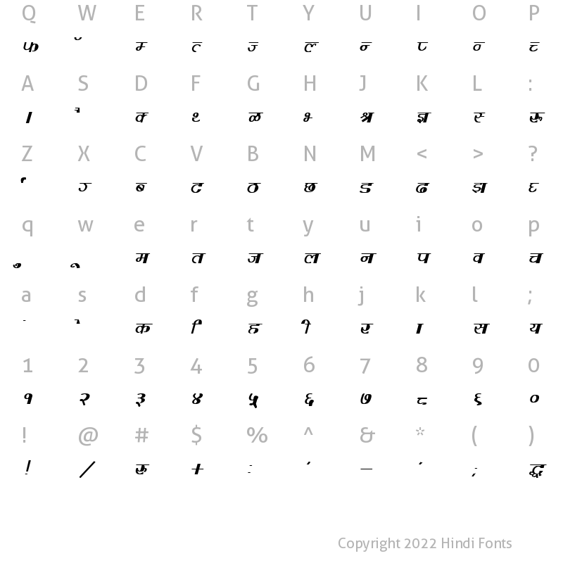 Character Map of DevLys 220 Bold Italic