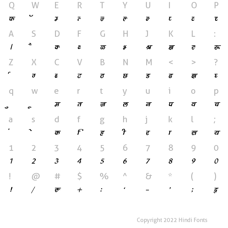 Character Map of DevLys 240 Italic