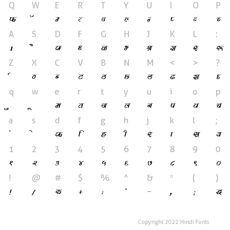 Character Map of DevLys 280 Bold Italic