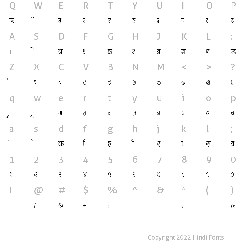 Character Map of DevLys 280 Condensed Normal
