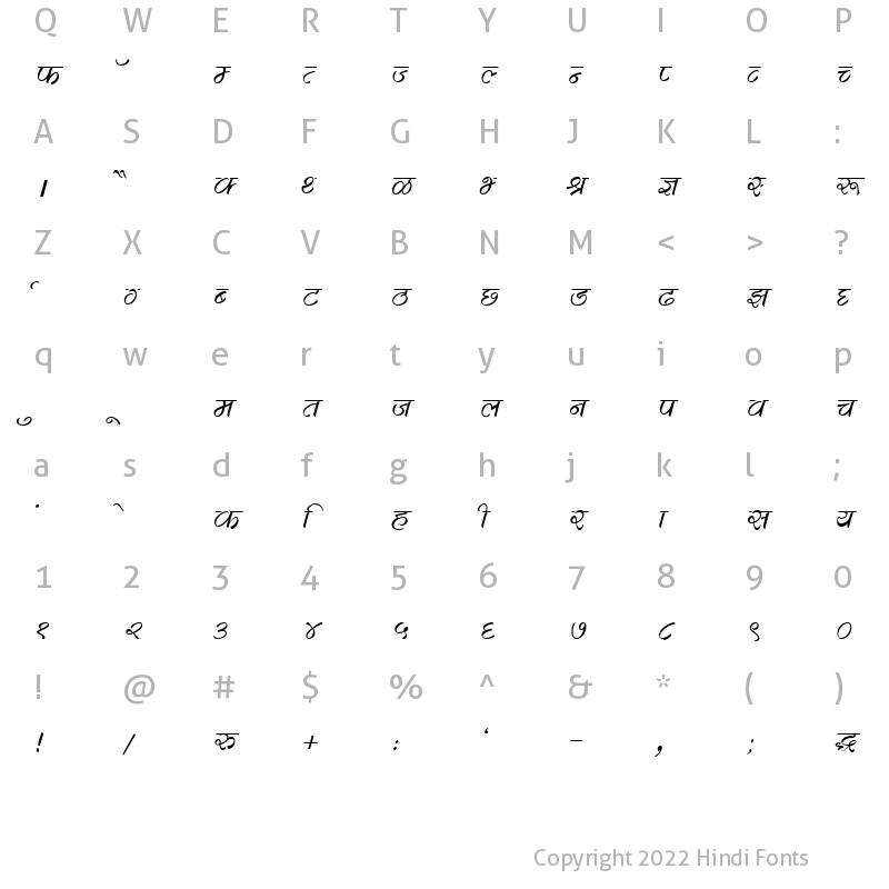 Character Map of DevLys 280 Italic