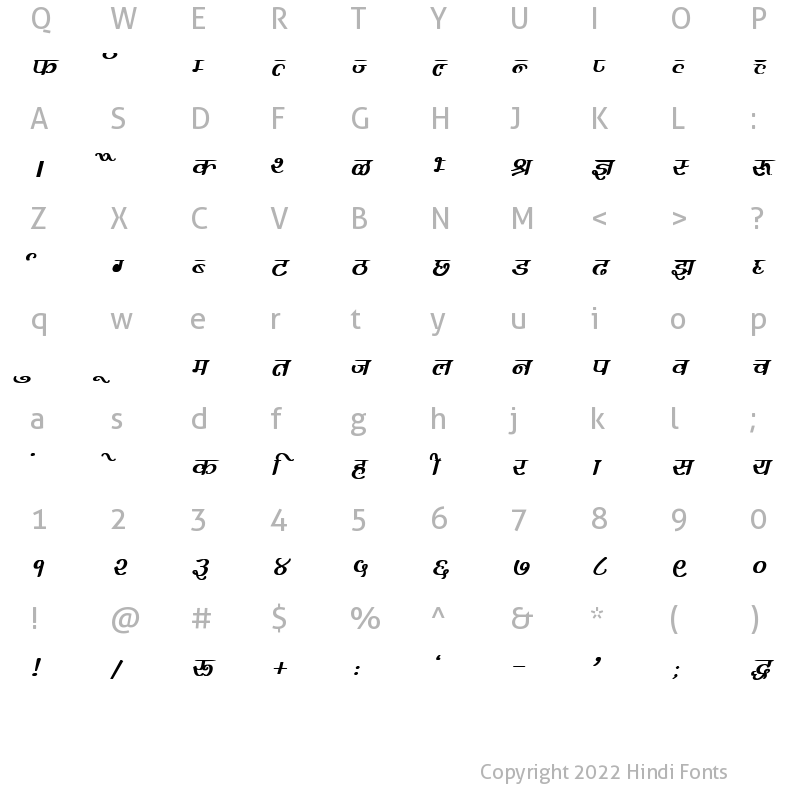 Character Map of DevLys 300 Bold Italic