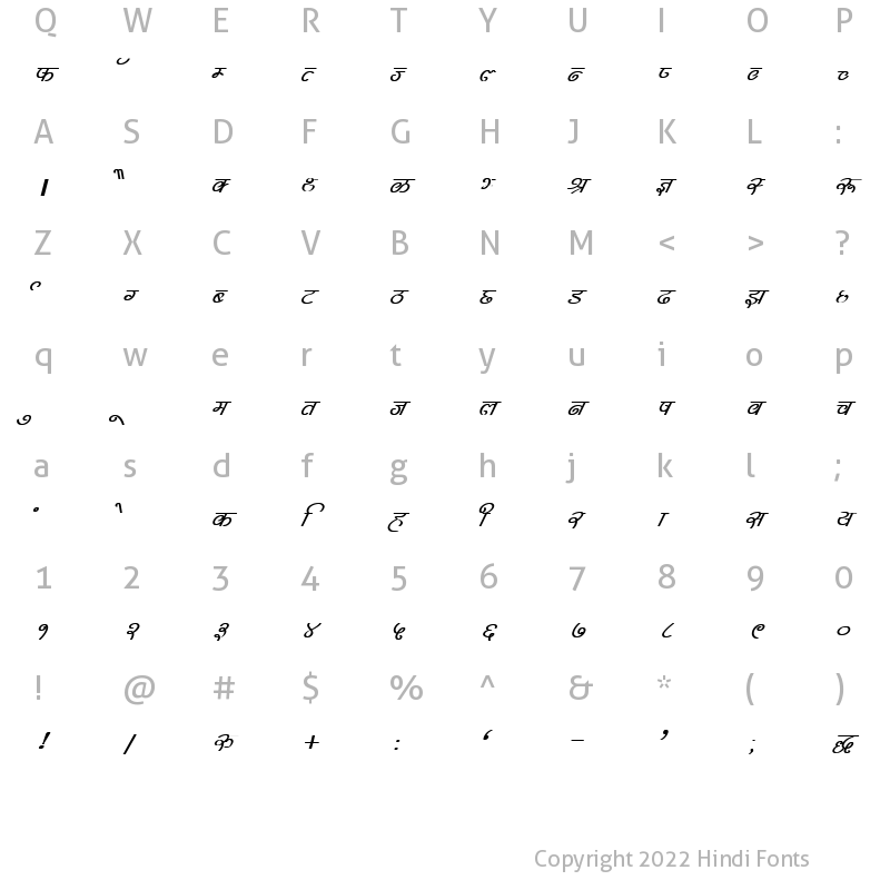 Character Map of DevLys 310 Bold Italic