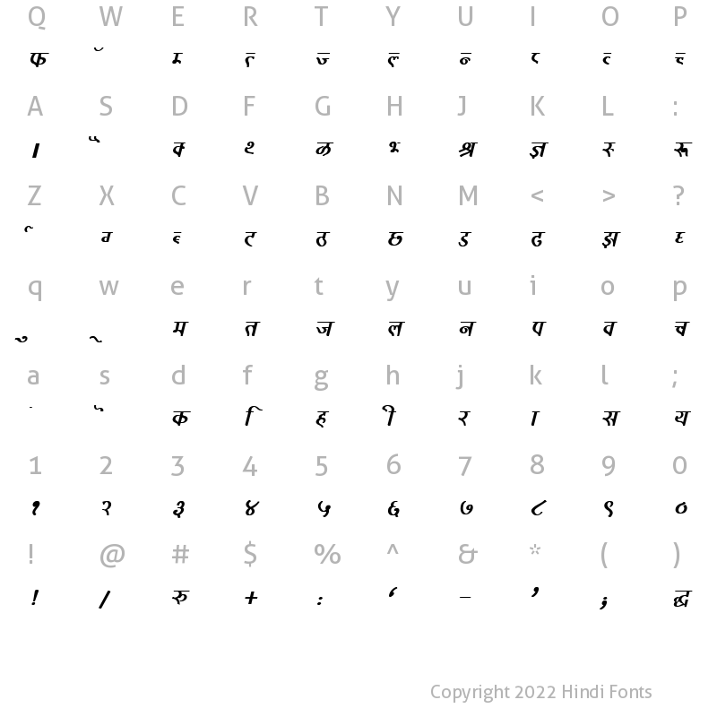 Character Map of DevLys 320 Bold Italic