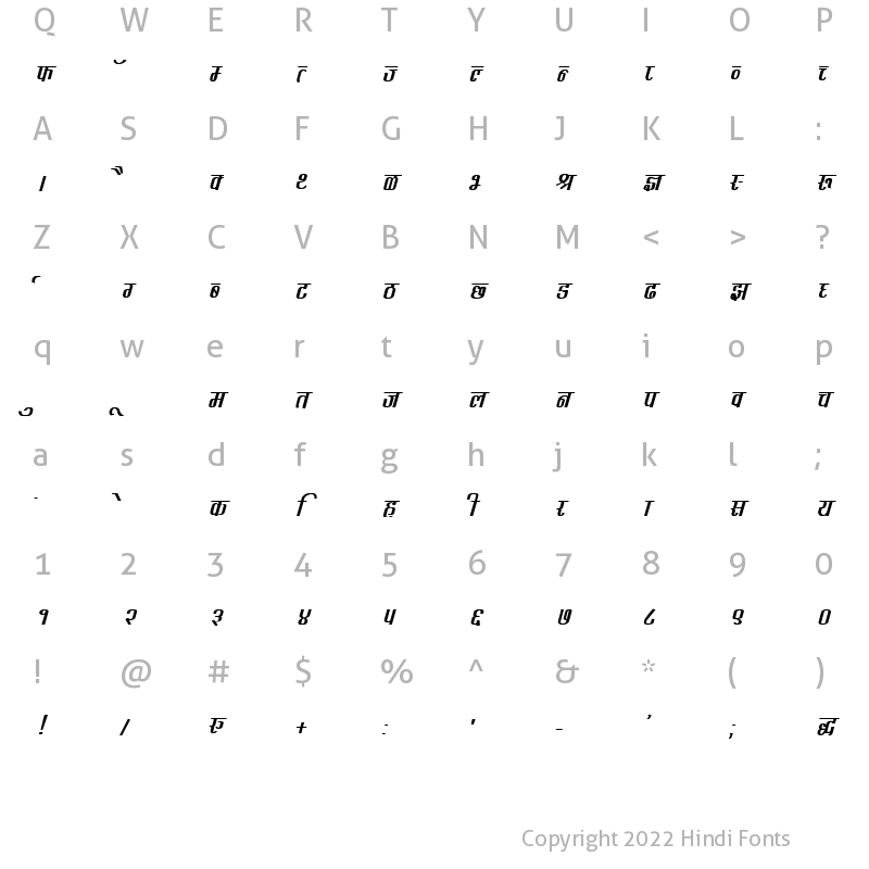 Character Map of DevLys 340 Bold Italic