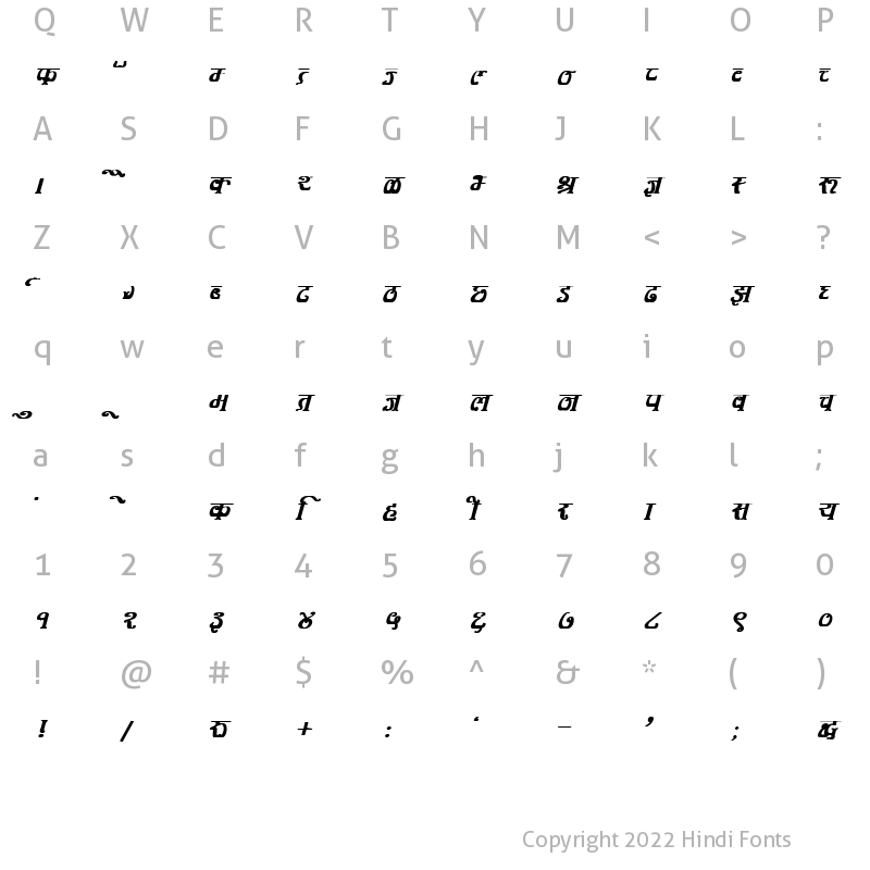 Character Map of DevLys 350 Bold Italic