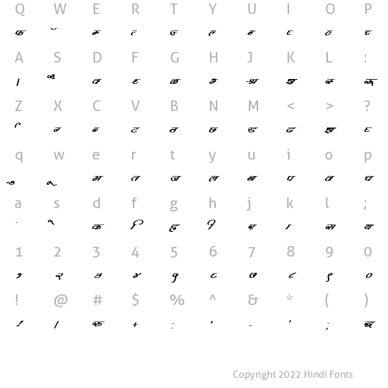 Character Map of DevLys 360 Bold Italic