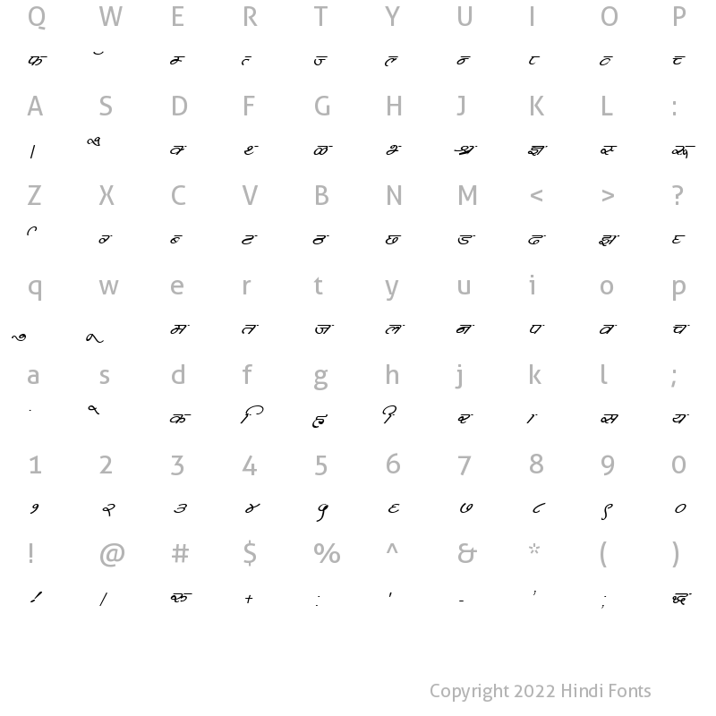 Character Map of DevLys 360 Italic