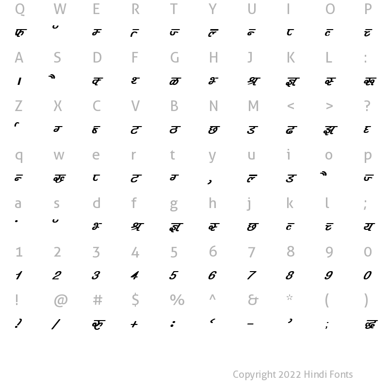 Character Map of DevLys 400 Bold Italic