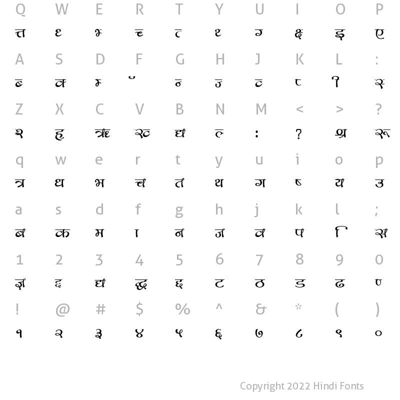 Character Map of GopalScript Regular