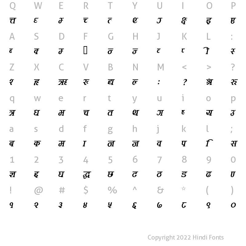 Character Map of Kamana Italic