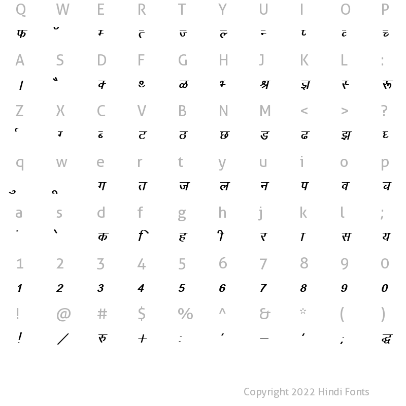 Character Map of Kruti Dev 010 Bold Italic