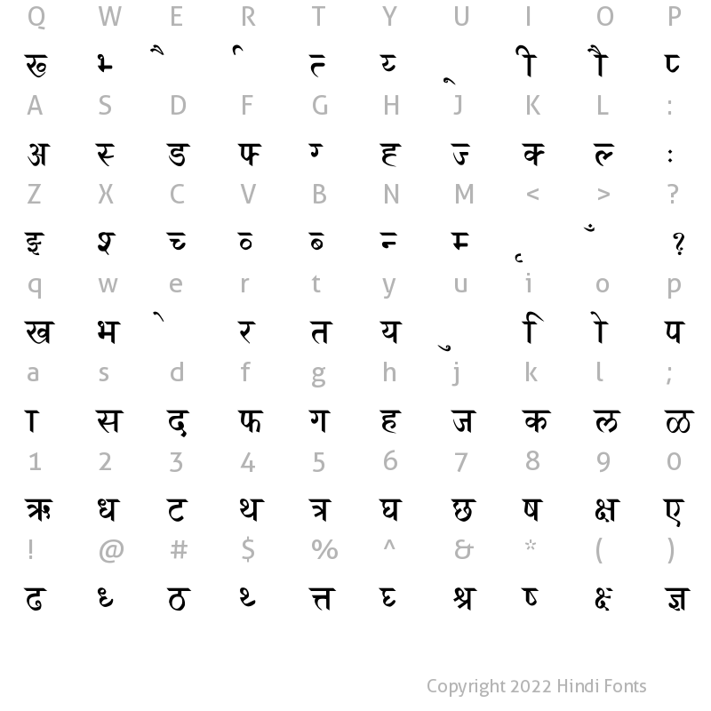 Character Map of Marathi-Saras Normal