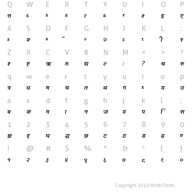 Character Map of Narad Italic