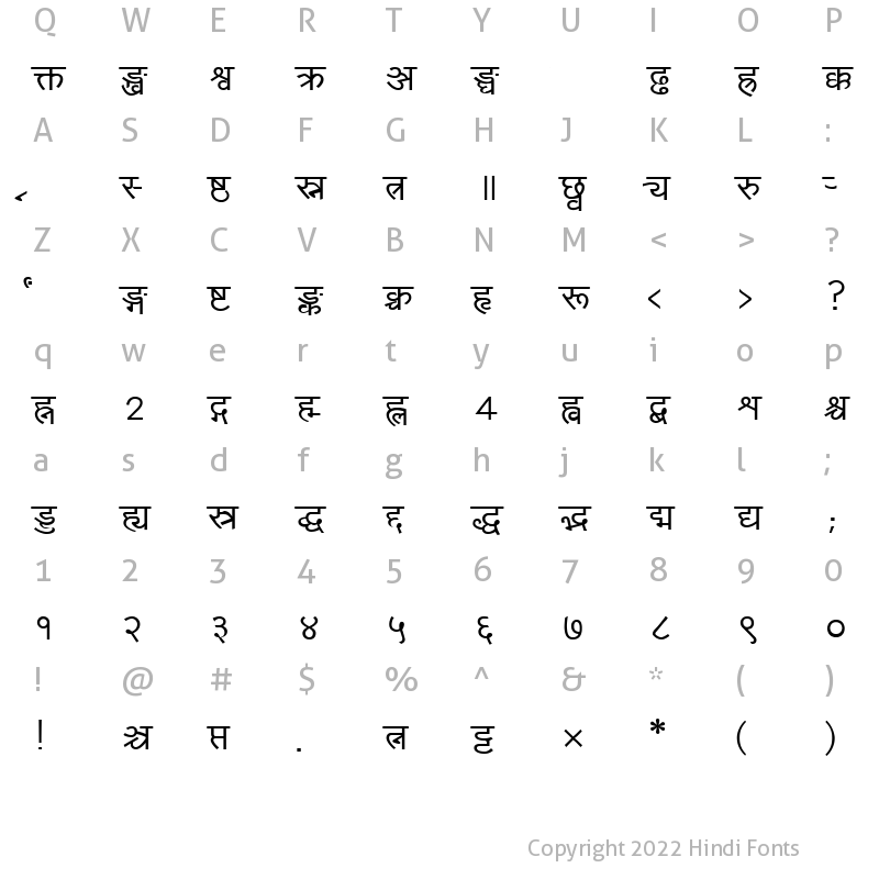 Character Map of Yogeshweb Normal